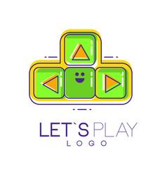 creative joystick with buttons emblem gamepad vector image