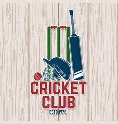 Cricket club patch or sticker concept vector