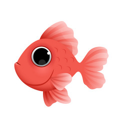 cute cartoon golden fish isolated on white vector image
