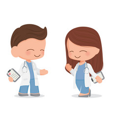 cute young doctors couple eps10 vector image