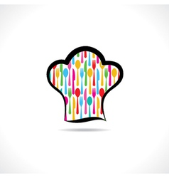 cutlery inside on chef hat background vector image