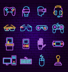 cyber game neon icons vector image