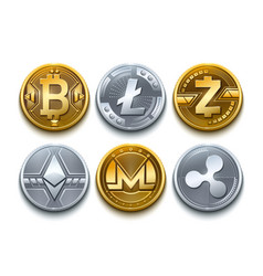 digital cryptocurrency set icons bitcoin vector image