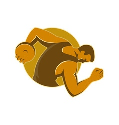 Discus thrower throwing side retro style vector