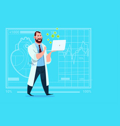 Doctor hold laptop computer online consultation vector