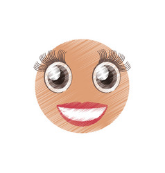 drawing girl emoticon image vector image