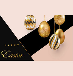Easter card with gold ornate eggs on a dark light vector