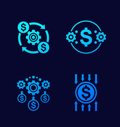 Efficiency cost reduction icons vector