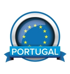 Eu flag button with portugal ribbon vector