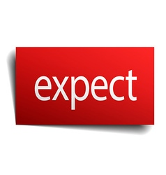 Expect red square isolated paper sign on white vector