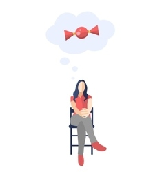Female sitting with legs crossed and thinking vector