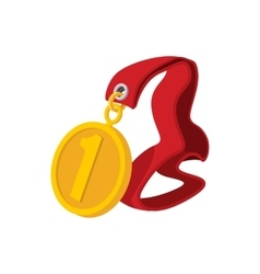 First place medal on a red ribbon cartoon icon vector image