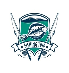 Fishing sport club emblem with fish icon vector image