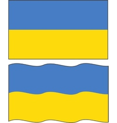 Flat and waving Ukrainian Flag vector