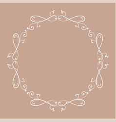 floral vintage round frame white decorative vector image