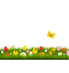 Flower border with butterfly vector