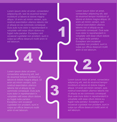 four purple piece puzzle infographic 4 step vector image