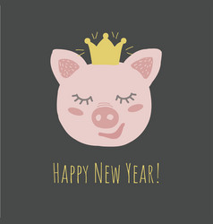funny pig retro stylehappy new year phrase vector image