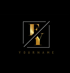 fy golden letter logo with cutted and intersected vector image
