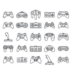 gaming joystick icons set outline style vector image