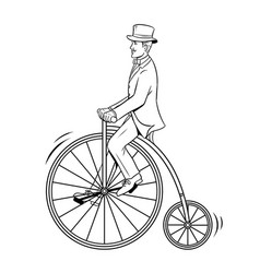 gentleman ride vintage bicycle coloring book vector image