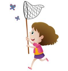 girl catching butterflies with net vector image