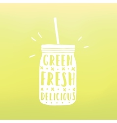 Green fresh delicious Mason jar with hand drawn vector image