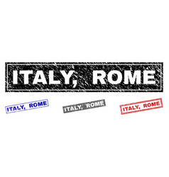 grunge italy rome textured rectangle watermarks vector image