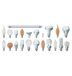 Halogen bulb realistic set icon vector