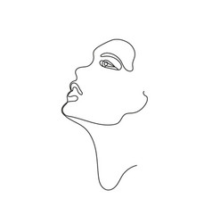 hand drawn linear art woman face vector image