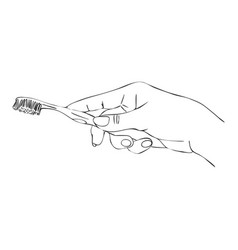 Hand with toothbrush vector