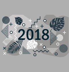 happy new year 2018 design card with tropical vector image