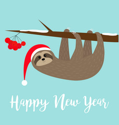 happy new year sloth hanging on rowan rowanberry vector image