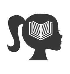 head profile human with education icon vector image