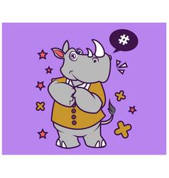 hipster rhino cartoon t shirt design vector image