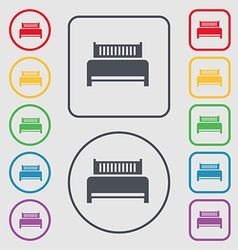Hotel bed icon sign symbol on the Round and square vector image