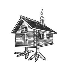 hut on chicken legs sketch vector image