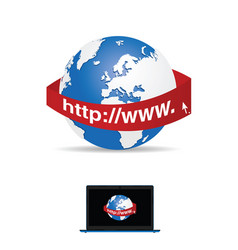 Internet icon with globe vector