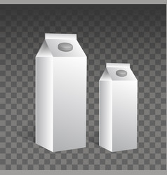 juice and milk blank white carton boxes 3d vector image