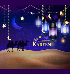 lanterns in the desert at night sky vector image