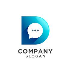 Letter d with chat bubbles logo design vector