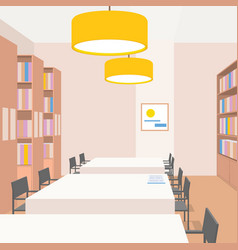 library interior with tables chairs bookcases vector image