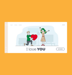 love human relations surprise landing page vector image