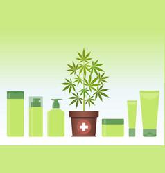 Marijuana or cannabis plant in pot with hemp vector