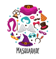 masquerade and kids carnival party masks and head vector image
