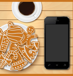 mobile phone and christmas gingerbread vector image