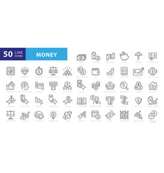 money line icons set banking wallet and coins vector image