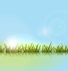 Morning meadow grass green reflection in lake vector image