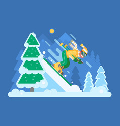 Mountain skiing man riding on winter forest vector