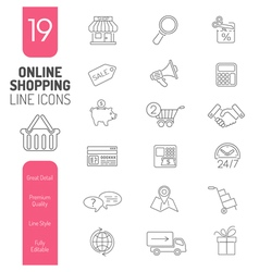 Online Shopping Thin Lines Web Icon Set vector